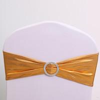 Chaise en or métallique écharpes Spandex Lycra chaise bande avec boucle pour la décoration de fête de banquet de mariage
