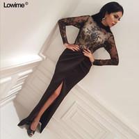 Sexy Black Lace Русалка Пром платья Arabic Длинные рукава высокого шеи вечернее платье See Through High Side Split Плюс Размер Формальные платье партии