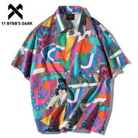 11 BYBB Темное лето Винтажные Гавайские рубашки Мужчины хип-хоп Японская Streetwear Ukiyoe Повседневная рубашка Человек Сыпучие с коротким рукавом рубашки CX200618