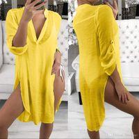 2020 nuova vendita calda UK donne Stock costume da bagno di occultamento del bikini Beach Dress Swimwear Swimsuit Dress