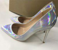 laser Magic color Women's High heeled shoes 8cm 10cm 12cm Cusp Fine heel Single shoes Big code 44 Nightclub work wedding red bottom shoes