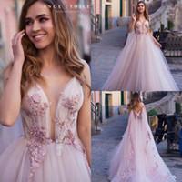 Blush rose 2020 robe de mariée robe spaghetti dentelle applique plage robe de mariée robes de mariée sans recul avec wraps longues pas cher