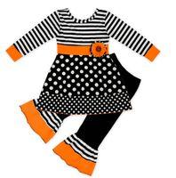 Çocuklar Kız Giyim Cadılar Bayramı Günü Iki parçalı setleri Uzun Kollu T gömlek ve Pantolon Çiçek Polka Dots Elimden Kedi Tasarım Giyim Setleri