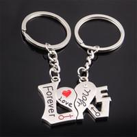Kalp Charm Anahtarlıklar Zincir Sonsuza Kadar Seni Seviyorum Anahtarlıklar Tutucu Çiftler için Lover Doğum Günü Hediyeleri Moda Metal Bölünmüş Anahtar Yüzükler takı Arabalar için