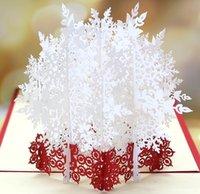 Copo de nieve blanco 3D tarjeta de felicitación en tres dimensiones de Navidad de papel manual tallar huecos bendición de bricolaje wl1083 de tarjetas de felicitación