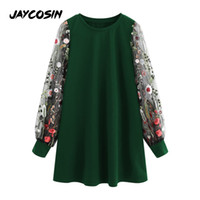 JAYCOSIN Flower Embroidery Mesh Dress Round Neck Long Sleeve...