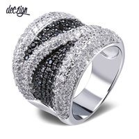 Deczign 2019 Wide Black and White Cubic Zirconia Finger Ring...