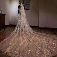 2019 Sparkly bling bling nupcial véu Catedral trem 3 metros de luxo brilhante festa de casamento nupcial véu branco champanhe