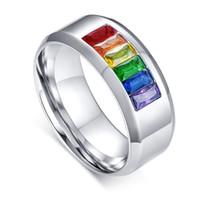 Amantes Aço Cirúrgico LGBT Orgulho Gay Lésbica Arco-íris Colorido CZ Pedra Inlay Anel Banda Promise Anéis De Noivado De Casamento