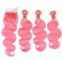 맨 위로 폐쇄 레이스 폐쇄 4 × 4 바디 웨이브 물결 모양의 핑크 컬러 인간의 머리 위사 순수 핑크 버진 브라질 인간의 머리 짜 번들