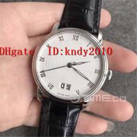 Top Villeret Grande Date 6669-1127-55B Наручные часы Автоматический Мужские часы Корпус из нержавеющей стали издание белый циферблат Miyota 9015 Mechanical