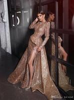 Arabo Dubai Sparkle Seasined Abiti da sera a V Deep Neck Mermiad High Split Formal Party Prom Gowns Plus Size Vestidos de Fiesta