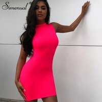 Simenual Neon Pink ärmel Frauen-Minikleid Bodycon Sexy Fashion Party Clubwear dünne feste dünne grundlegende 2020 Hot Kleider Schlank