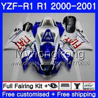 Corps pour YAMAHA YZF 1000 blanc bleu chaud YZF R 1 YZF-1000 YZFR1 00 01 Cadre 236HM.18 YZF-R1 00 01 Carrosserie YZF1000 YZF R1 2000 2001 Carénage