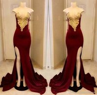 Long Dark Red Prom Dresses 2019 Strapless Gold Applique With...