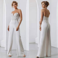 2020 New Bohemian Wedding Dresses Lace Jumpsuit Beading Tass...