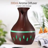 Ätherisches Öl Diffuser 300ml Holz Luftbefeuchter Luftbefeuchter Reiniger mit Holzmaserung Form 7colors Wechsel LED-Leuchten für Office Home