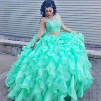 2020 мятный зеленый шар платья Quinceanera платья блестки кружева два штуки выпускные платья драгоценные шеи сладкие 16 платья длинный формальный вечерний износ BC4145