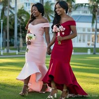 2019 Cheap Mermaid Bridesmaid Dresses African Off Shouder Lo...