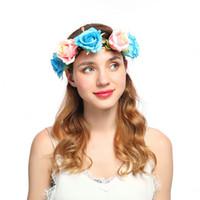 보호 탄성 꽃 머리띠 패브릭 꽃 왕관 웨딩 화환 신부 들러리 화환 로즈 엘라스티크 체브 신부 헤어 액세서리