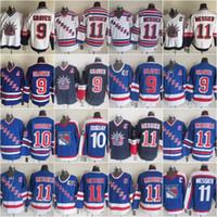 9 Adam Graves New York 10 Ron Duguay Rangers Trikot Herren Vintage Classic 11 Mark Messier 13 Sergei Nemchinov 75. Hockey Trikots