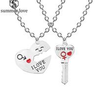 حار بيع أنا أحبك القلب قلادة قلادة المفاتيح مجموعة مجوهرات للنساء زوجين رومانسية شكل مفتاح زوجين حبيب هدية بالجملة