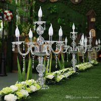 55 см до 150 см высокий Upscal стол Центральным акриловый Кристалл свадебные канделябры подсвечник свадебный проход дорога ведет реквизит