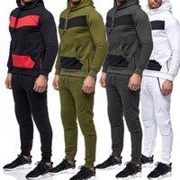 سروال طويلة الأكمام الطويلة للرجال 2PCS مجموعات عارضة الذكور الملابس لونين نصب منصة مصمم رجالي رياضية الأزياء الشريط مقنع