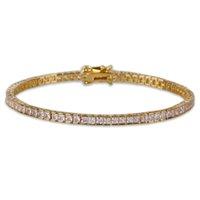 4MM العرض ساحة تنس سوار زركونيا الهيب هوب مجوهرات 1 صف بلينغ CZ رجل / إمرأة أزياء سحر الذهب لون الفضة أساور هدية