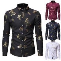 Мужские повседневные рубашки Ishowtienda Мужская рубашка с длинным рукавом мода живопись большой размер бабочки верхняя блузка # W35