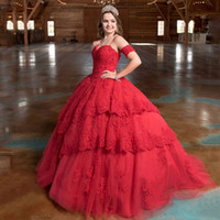 Elegant Red 2020 High End Lace Ball Gown Quinceanera Prom dr...
