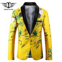 Plyesxale Jaune Noir Blazer Hommes 2018 Slim Fit Floral broderie Blazer Veste à col châle Costume Casual Mens Prom Blazers Q421