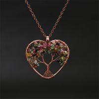 Moda 7 Chakra Albero della Vita Cuore collana naturale gioielli ciondolo di cristallo Pietre gemme della collana di collegamento a mano Reiki Healing Donne Schiacciato