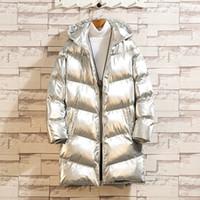 Men's Down Parkas Yasuguoji 2021 Fashion Bright Silver Silver Hombre Chaqueta de algodón grueso CHETETED MENS CHETETS Y ARACES COMOURADA CALIENTE LONG PARKA