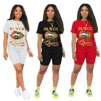 Moda Kadın Şort Eşofman Siyah Kraliçe Mektup Baskı Iki Parçalı Set Kısa Kollu T Gömlek + Şort Kıyafetler Yaz Tasarım Spor Suit S-3XL