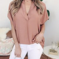 Women Blouses Ladies Summer Chiffon Solid V- Neck Short Sleev...