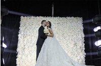 Nuevos arrivial entorno elegante decoración de boda Centros de mesa Suministros rosa blanca flor del Hydrangea pared 60CMX40CM