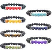 New 7 Style Gemstone Bracelet Jewelry Accessories 8mm Braccialetto di roccia vulcanica Braccialetti di yoga selvaggio Perle di vetro smerigliato