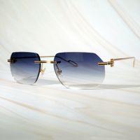 Erkekler Kadınlar Güneş Gözlükleri Erkek Retro Tasarım Güneş Sarı Oval Lentes De Sol Mens Rimless Sunglass Marka Gözlük Lüks Carter Gözlük