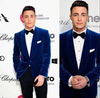 Trajes de hombre azul oscuro 2019 solapa de mantón Un botón Corduroy Wedding Tuxedos Slim Fit para hombre diseñador blazers Prom Suit (chaqueta + pantalón + arco)