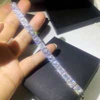 Sprankelende Luxe Sieraden 925 Sterling Silver Princess Cut White Topaz CZ Diamond edelstenen Populaire Party Dames Bruids Armband Gift