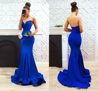 New Simple royal blue evening gowns Party Wear mermaid prom ...