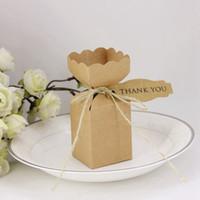 크래프트 종이 광장 사탕 상자 태그와 소박한 캔디 홀더 가방 선물 상자 결혼식 선물 파티 호의