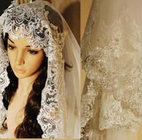 3 metros vintage Catedral Veil para vestido de noiva vestido nupcial branco marfim macio tule branco marfim tule borda de laço uma camada com pente