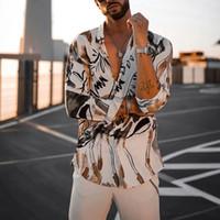 الرجال القميص عادية كم طويل القميص طباعة الرجال طية صدر السترة الرقبة فضفاض زر أعلى بلوزة تنفس الشارع الشهير مثير قمصان الرجال