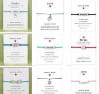 Bracciale Con Gift Card zampa del cane Amore Unicorn braccialetti di fascino dell'insegnante Bangles per le donne gli uomini Amicizia Dichiarazione Gioielli Biglietti d'auguri 1695