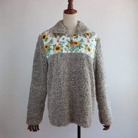 winter hot print sunflower fleece sherpa pullover flare long...