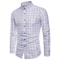 남자 드레스 셔츠 망 셔츠 옥스포드의 긴 소매 공식 캐주얼 체크 무늬 슬림 피트 탑 남성 chemise homme m-5xl