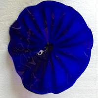 Итальянский дизайн выдувное стекло Голубые цветы для дома турецкого Murano Flower Shaped Стеклянные пластины из муранского стекла искусства настенные светильники