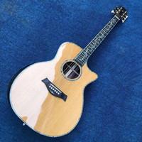 """Personalizzato Solid Top in abete Fingerboard 41"""" Logo reale Abalone d'oro sintonizzatori GSP14s Fingerboard Acoustic Guitar testa personalizzata"""